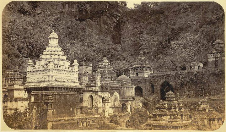 Very old and rare image Muktagiri Jain Temples and Waterfall - 1865